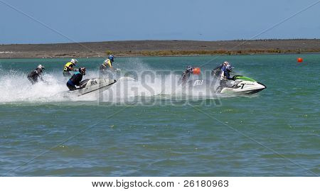 Jet skis at the start of a race
