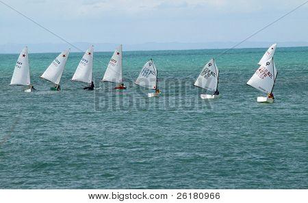 Optimist Class Yachts racing at sea