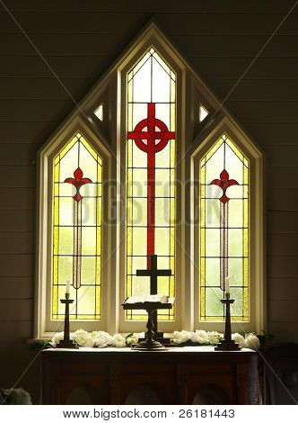 Decorative Glass windows in a church prepared for a wedding