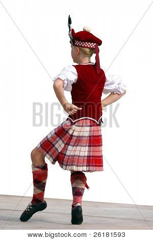 Highland dancer on stage Isolated with clipping path