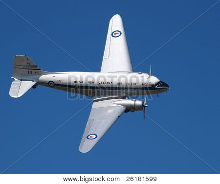 New Zealand Airforce DC3 in flight