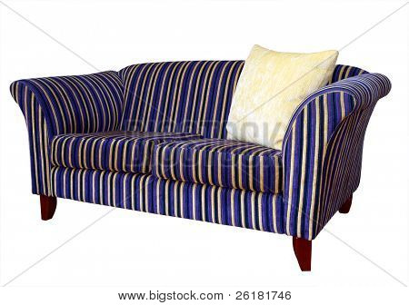 Striped Sofa with Cushion. Isolated with clipping path