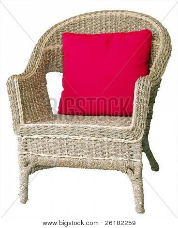 Cane Chair with Cushion isolated with clipping path