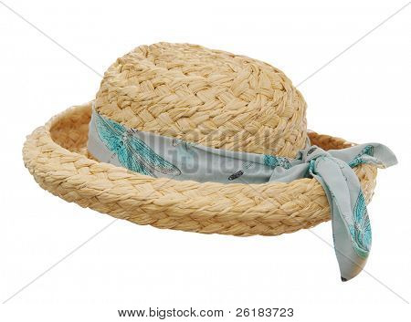 Sun Hat with Scarf isolated with clipping path