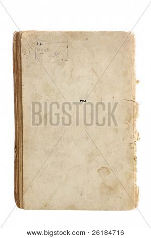 really old book with enlargement textural details isolated on white
