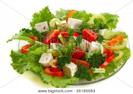 Gemüsesalat mit Käse, Tomaten, Paprika, Kopfsalat, Petersilie