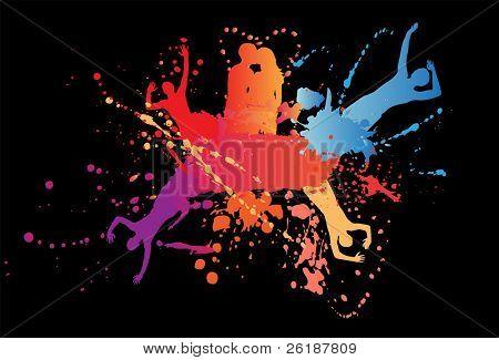 abstrakt colorful Background mit bunten Jugendlichen silhouette