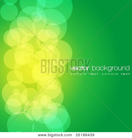 Glittering green and yellow lights background with text - vector