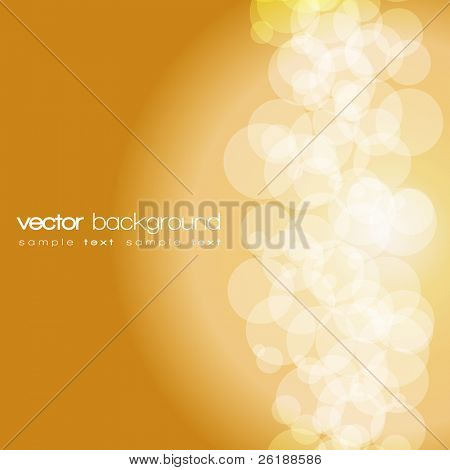 Glittering gold lights background with text - vector