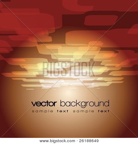 Vector 3D square on the brown background with text