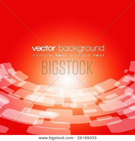 Vector 3D warped square on the red background with text