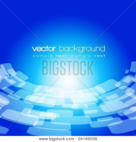Vector 3D warped square on the blue background with text