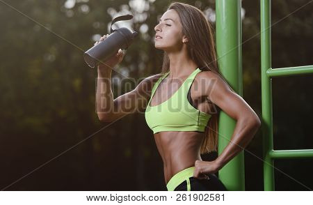 poster of Outdoor Sport Sexy Athletic Young Woman Working Out In Gym Working Out In Gym