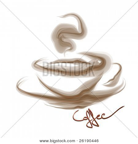 Vector - Smoke art coffee isolated on white background