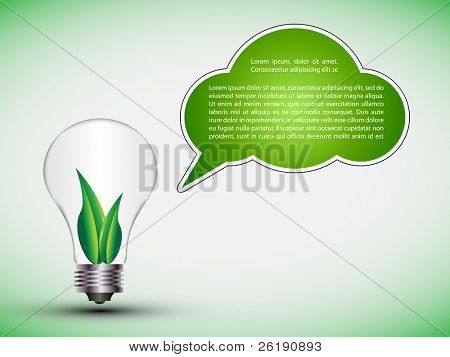 EPS10 Colorful Ecology Friendly Light Bulb with Speech Bubble - Vector Illustration