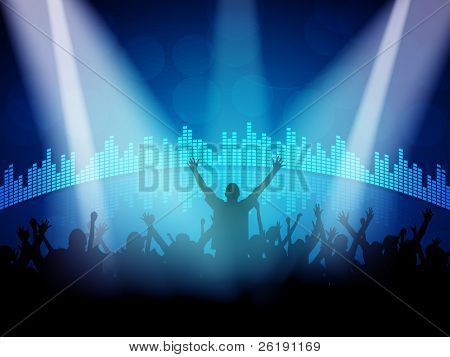 EPS10 Party People with Colorful Lights Vector Background - Dancing Young People