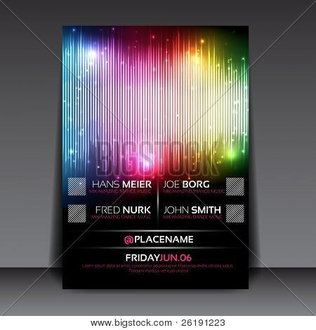 EPS10 Editable Flyer with Colorful Equalizer Design