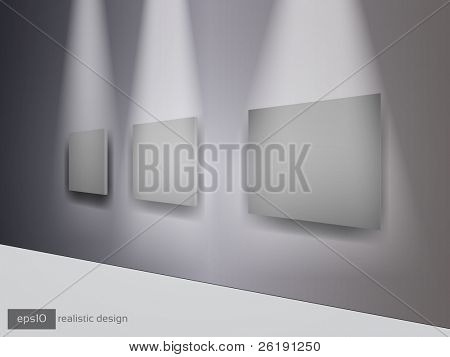 3D Grey Frames of Pictures on the Wall - Realistic Vector Design