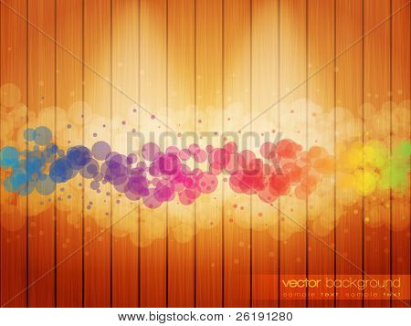 Colorful Circles on the Woody Background - EPS10 Vector Design Background