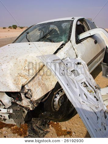 A crashed car in Arabia. Extensively damaged in a high-speed loss of control