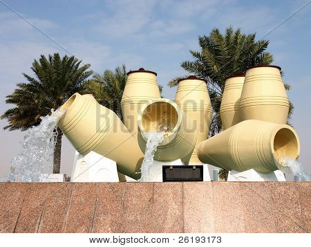 Water-pot fountains on Doha, Qatar's Corniche (reshot)
