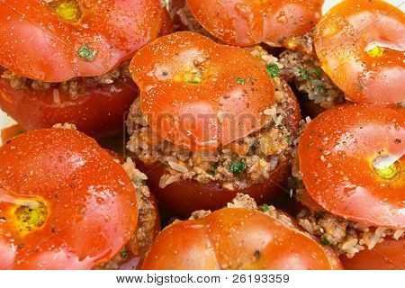 Greek stuffed tomatoes, ready for the oven.