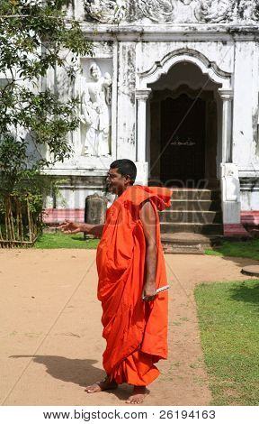 Buddhist monk at his temple in Sri Lanka. No release, for editorial use only.