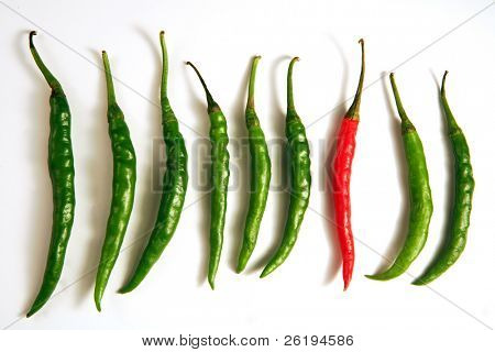 Hot chilli peppers, with one standing out as different from the crowd