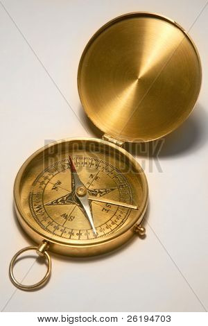 Antique, brass compass