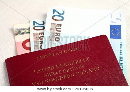 A British passport with European Union currency notes, symbolising European travel.