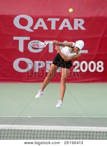 China's Zi Yan serving at the Qatar Total Open, February 20, 2008, against Russian Dinara Safina.