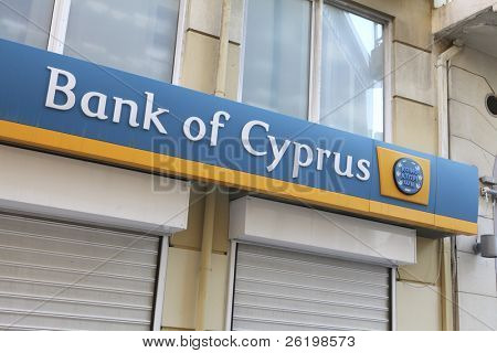 HERAKLION, GREECE - JULY 27: The sign on a branch of the Bank of Cyprus which has $2bn euros of Greek sovereign debt on July 27, 2010 in Heraklion, Crete, Greece