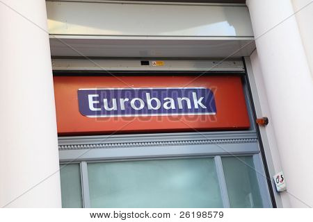 HERAKLION, GREECE - JULY 27: A Eurobank branch in Heraklion (Iraklio), Crete. In June 2011 Eurobank's part of Greek sovereign debt was 7.9bn euros on July 27, 2010 in Heraklion, Crete, Greece