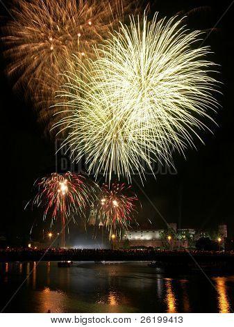 Fireworks show over Royal castle Wawel in Krakow