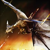 Fire Breathing Dragon Rushing In For Another Attack. 3d Rendering poster