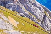 Mount Pilatus Descent On Worlds Steepest Cogwheel Railway, 48 Percent, Tourist Landscape Of Switzerl poster