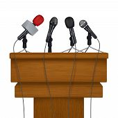 Press Conference Stage. Meeting News Media Microphones Vector Realistic Pictures. Illustratin Of Sta poster