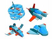 Spaceships Isometric. Building Technology Of Various Types Of Ships Cargo Warship Bomber And Aerial  poster