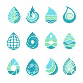 Drops Logos. Colored Water Aqua Splashes Nature Symbols Liquid Food And Oil Vector Template Icons Of poster