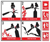 Fire Fighting Technical Illustration. Vector Silhouette Of Fire Extinguisher. Instruction Fire Equip poster