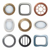 Plane Window. Ship Boat Round Glass Portholes Aircraft Interior Vector Realistic 3d Collection. Illu poster