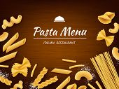 Pasta On Table. Italian Traditional Food Macaroni Spaghetti Fusilli With White Flour For Cooking Vec poster