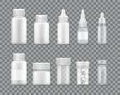 Containers For Liquid Medications And Pills Set. Bottles To Keep Capsules Or Fluid Remedies Empty Tr poster