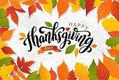 Happy Thanksgiving. Hand Drawn Text Lettering Card. Vector Illustration. poster