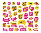 Sales Banner. Super Mega Discounts. Sale Speech Bubble Icon. Discount Star Symbol. Big Sale Shopping poster