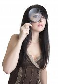 Beautiful Woman Holding Magnifying Glass