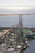 picture of katrina  - Construction cranes rebuilding the boat harbor after Katrina - JPG