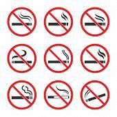 No Smoking Sign Set, Smoking Is Prohibited poster