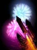 Close Up Image Of Firework Rockets With A Large Display In The Background. Bonfire Night Background  poster