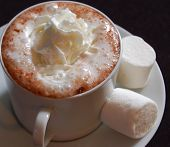 image of hot-chocolate  - Cup of hot chocolate with marshmallows and whipped cream - JPG